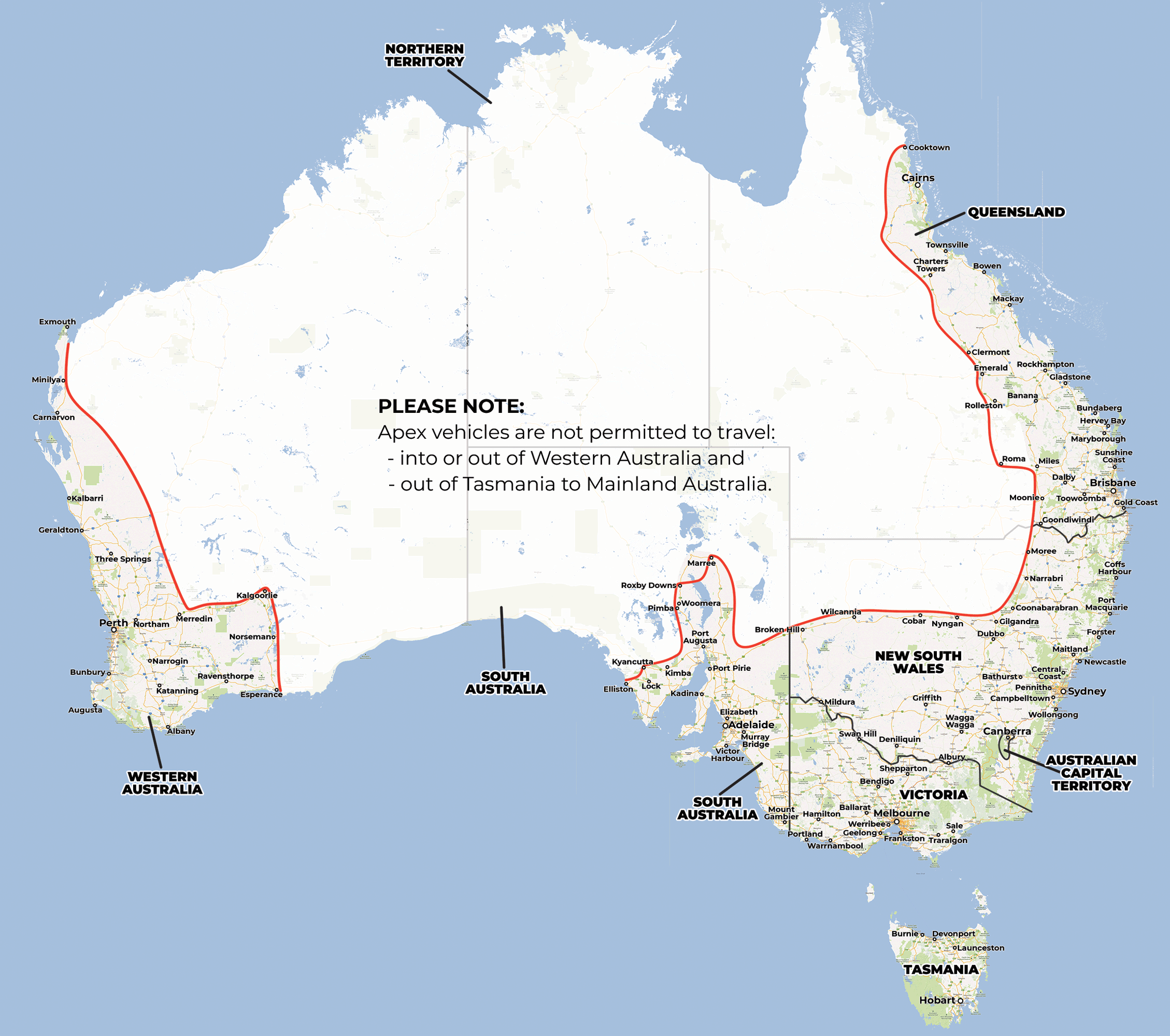 Australia Geographical Map.Driving Restrictions Apex Car Rentals Australia